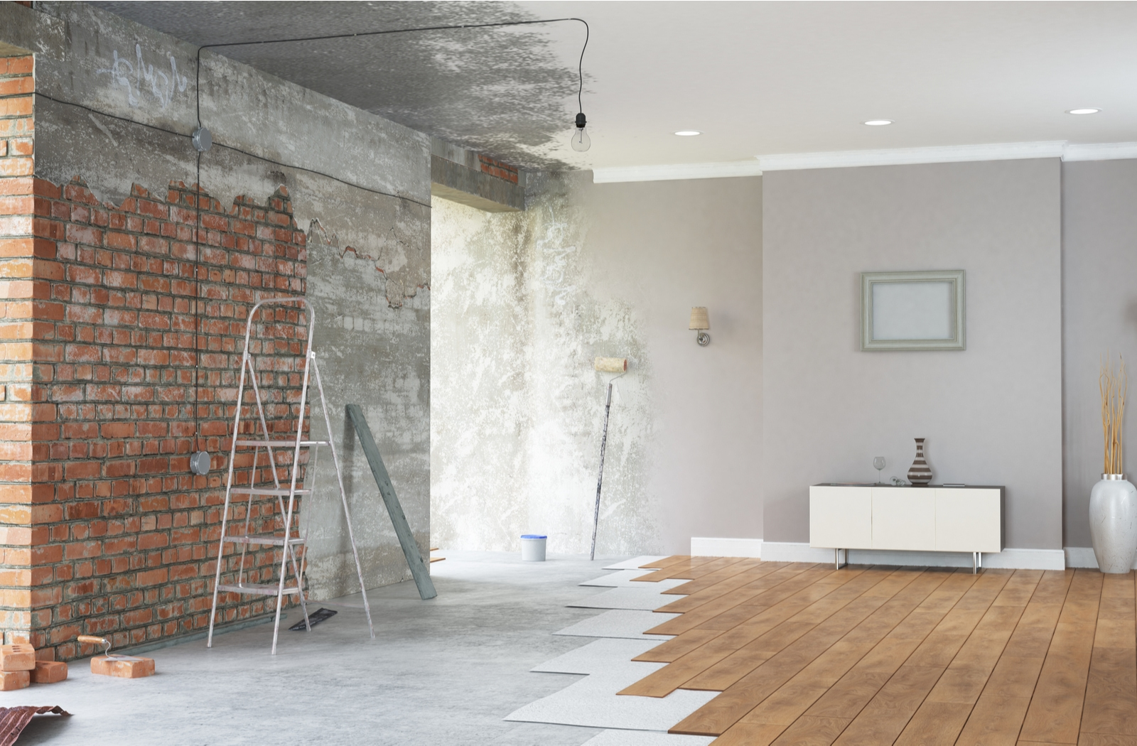 A before and after illustration of a home renovation
